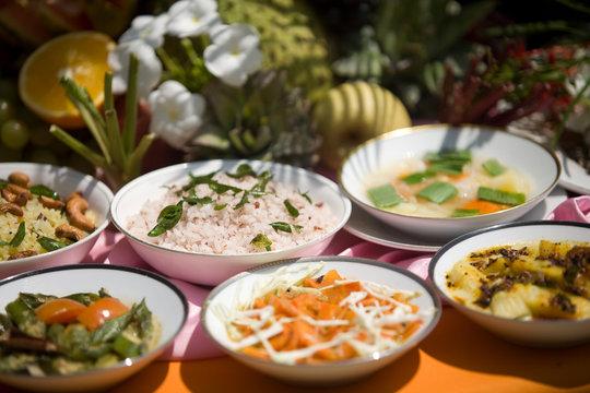 Display of deliscious, vegetarian, ayurvedic food for d-tox, balanche and health, natural light.