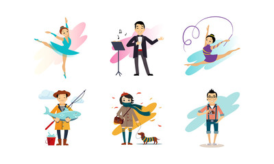 People enjoying various hobbies set, man and woman of various occupations vector Illustration on a white background