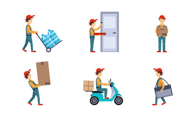 Courier or delivery men set, workers delivering water bottles, pizza, boxes, parcels, express delivery service concept vector Illustration on a white background
