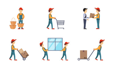 Courier or delivery men set, workers delivering orders, boxes, parcels, express delivery service concept vector Illustration on a white background
