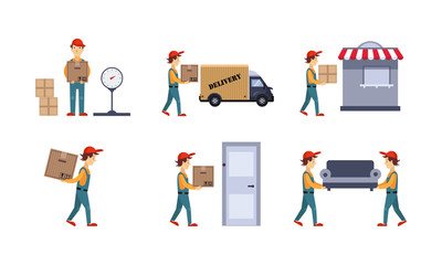 Courier or delivery men set, workers delivering boxes, parcels, express delivery service concept vector Illustration on a white background