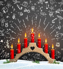 Christmas background with wooden candlestick and red candles