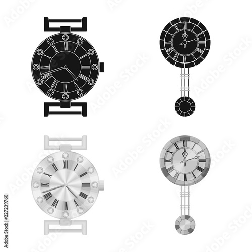 Vector illustration of clock and time symbol  Set of clock
