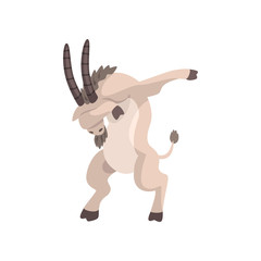 Goat standing in dub dancing pose, cute cartoon animal doing dubbing vector Illustration on a white background