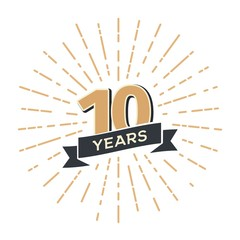 10 th anniversary retro vector emblem isolated template. Vintage logo tenth years with ribbon and salute
