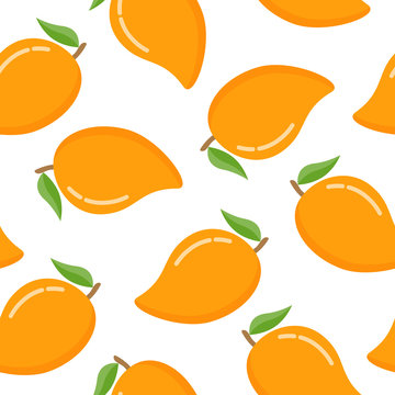 Seamless pattern with mango on a white background
