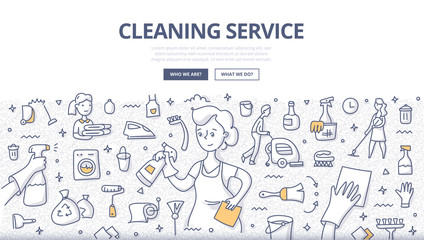Cleaning Service Doodle Concept Wall mural