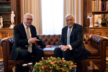 Greek President Prokopis Pavlopoulos meets with German President Frank-Walter Steinmeier at the Presidential Palace in Athens