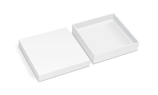 Blank square thin box mockup with lid isolated on white background. Vector illustration