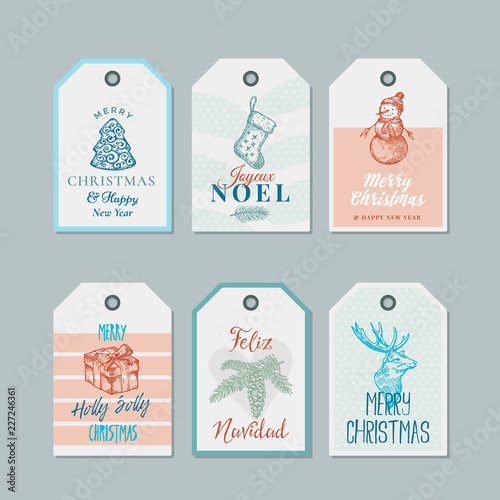 christmas and new year ready to use pastel colour gift tags or labels templates