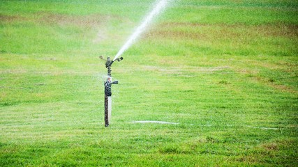 sprinklers on grass field. irrigation system in agriculture