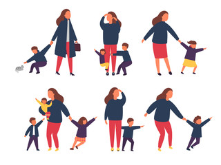 Tired exhausted mother with naughty kids. Parents with children. Vector illustration