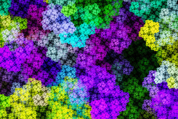 3D surreal illustration. Sacred geometry. Mysterious psychedelic relaxation pattern. Fractal abstract texture. Digital artwork graphic astrology magic.Colored squares