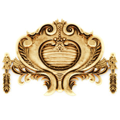 Gilded stucco, gold cartouche