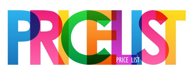 PRICE LIST rainbow letters banner