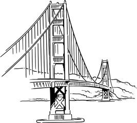 Golden Gate Bridge vector drawing