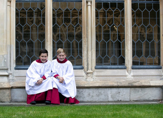 Choristers from the Windsor Castle Chapel Choir, Leo Mills, aged 12, and Alexis Sheppard, aged 11,  who will take part in the wedding of Princess Eugenie and Jack Brooksbank, pose outside the chapel in Windsor