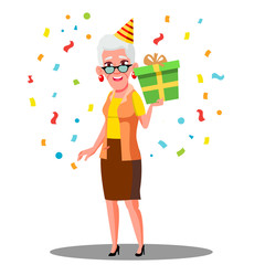 Funny Old Woman Celebrate Birthday In Party Caps And Confetti Vector. Isolated Illustration