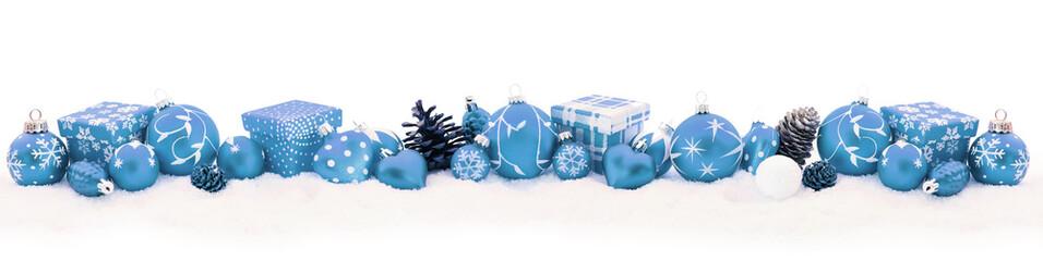 Blauer Weihnachten Hintergrund als Panorama