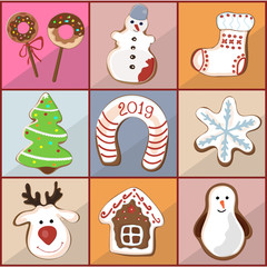 A set of curly gingerbread, cookies for Christmas, New Year