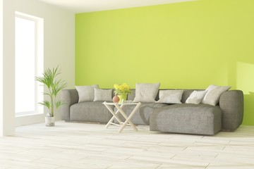 Green modern room with sofa. Scandinavian interior design. 3D illustration