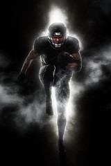 American football sportsman player running. Sport moution concept.