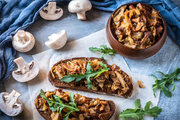 Hot sandwiches with mushrooms, top view