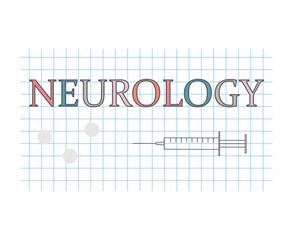 Neurology word on checkered paper sheet- vector illustration