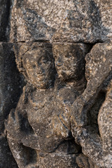 Bas Relief At Borobudur temple in Java, Indonesia