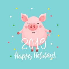 2019 Year card with happy pig
