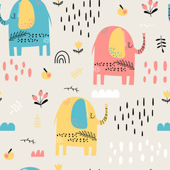 Seamless kid pattern with elephants