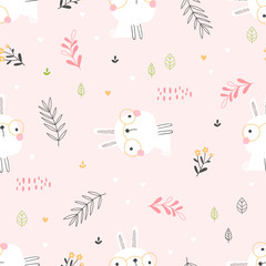 Kids seamless pattern with cute rabbits