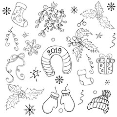 Set of objects for christmas on a white background