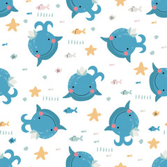 Seamless pattern with cute blue whales