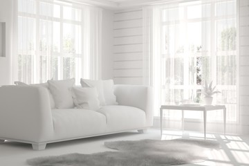 Mock up of white room with sofa. Scandinavian interior design. 3D illustration