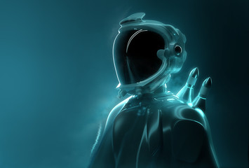 Futuristic Spaceman -  Advance Technology. Portrait of a young adult in full space exploration gear. 3D Illustration.