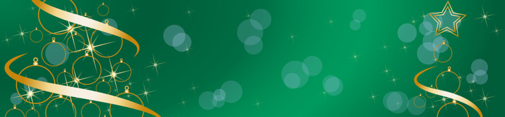 Christmas tree, vector header. Stars with blurry light. Green background with copy space