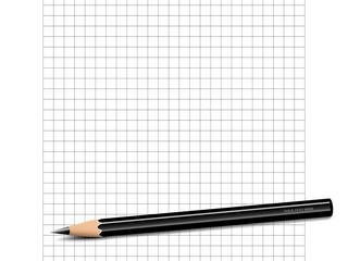 Papierblatt mit Karos, weißem Rand und Bleistift Vektor Illustration isoliert auf weißem Hintergrund