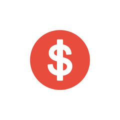 dollar money red symbol icon and vector