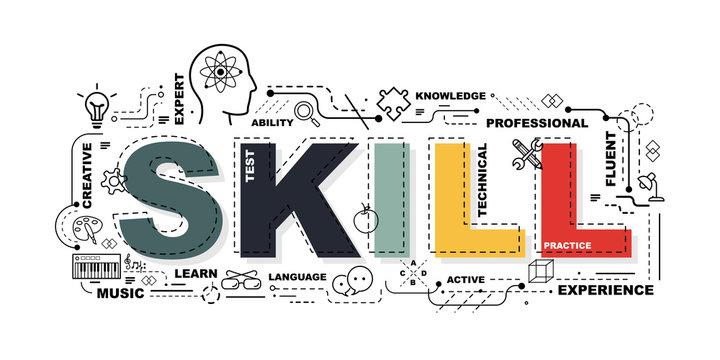 Design Concept Of Word SKILL Website Banner.