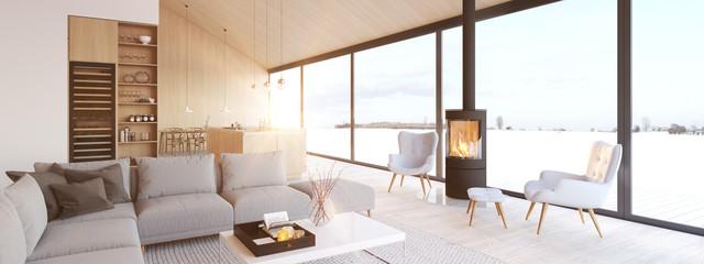 new modern scandinavian loft apartment. 3d rendering