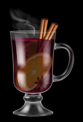 Glass of mulled wine on black background. Vector illustration.