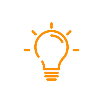Idea sign yellow - Light Bulb line icon vector, isolated on white background.