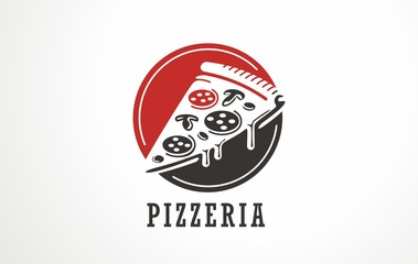 Pizzeria logo with pizza slice in negative space. Fast food restaurant symbol layout.