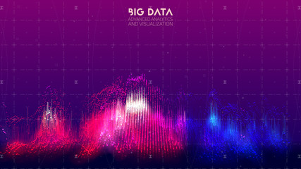 Vector abstract 3D big data visualization. Futuristic infographics aesthetic design. Visual information complexity. Intricate data threads plot. Social network or business analytics representation.