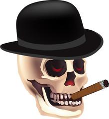 Halloween skeleton with top hat. Grim Reaper smoking skull vector