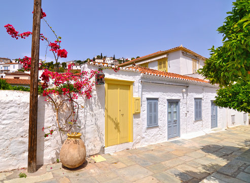 traditional houses with bougainvillea flowers at Hydra island Saronic gulf Greece