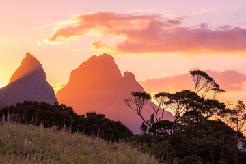 Sunset beautiful Mauritius paradise landscape. Mauritius nature view of colorful sky and light of...