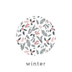 Christmas poster, flyer or greeting card. Christmas pattern with twigs, flowers, leaves on a white background. vector illustration