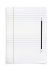 Black pencil and white paper sheet isolated on white background.